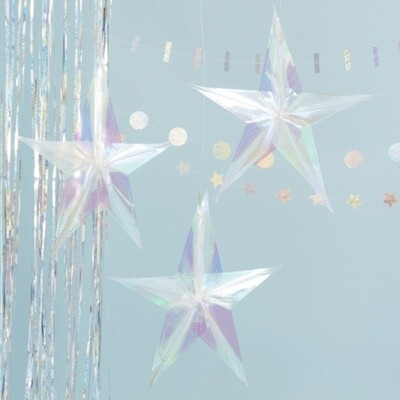 3 HOLOGRAPHIC HANGING STAR DECORATIONS