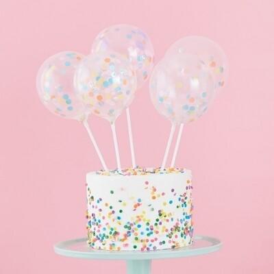 5 MINI CAKE TOPPER CONFETTI BALLOONS KIT
