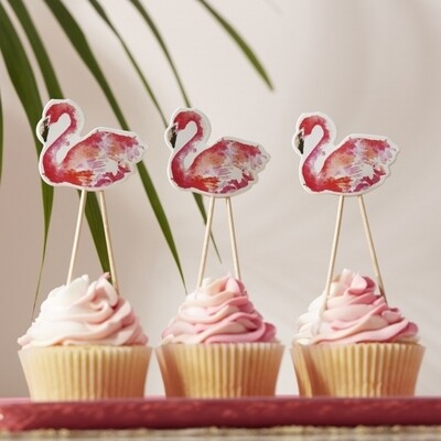 8 FLAMINGO FUN CUPCAKE TOPPERS