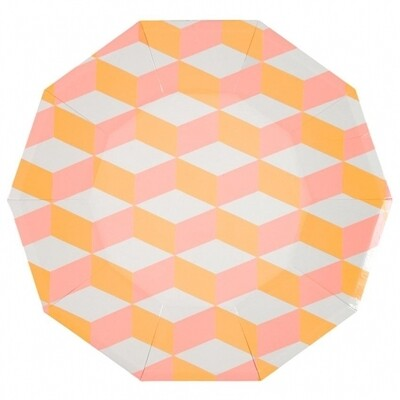 12 Pink And Orange Patterned Plates