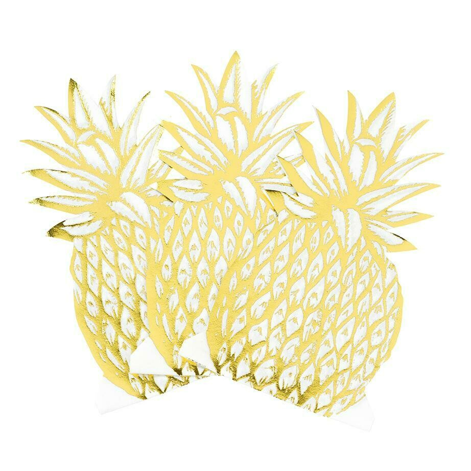 12 Modern Metallics Pineapple Napkins