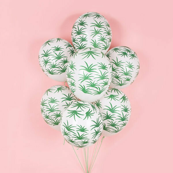 5 PRINTED BALLOONS - GREEN LEAVES