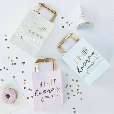 5 HIP HIP HOORAY pastel Party Bags