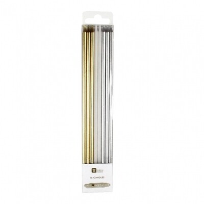 16 Long Metallic Candles
