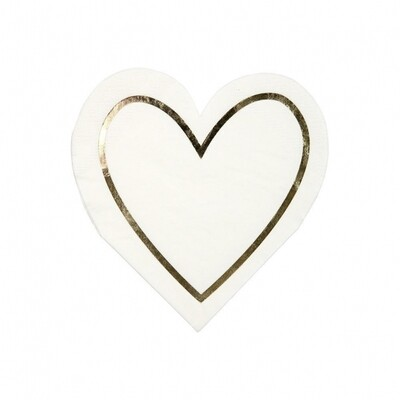 16 Gold Heart Small Napkins