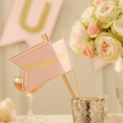 10 Pink & Gold Foil HOORAY Flags