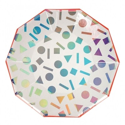 8 Large Rainbow Confetti Plates