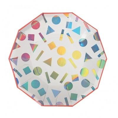 8 Small Rainbow Confetti Plates
