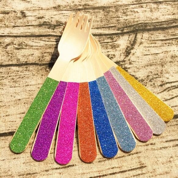 12 Glitter Wooden Forks