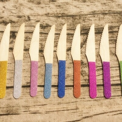 12 Glitter Wooden Knives
