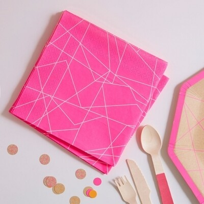 20 NEON PINK GEOMETRIC PAPER NAPKINS