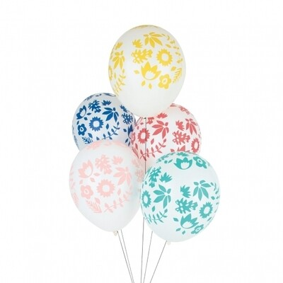 5 printed balloons - Tropical flower