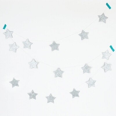 GLITTER GARLAND - SILVER STARS
