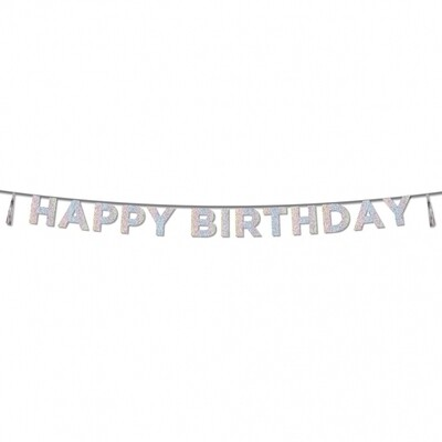 Glitter Iridescent 'Happy Birthday' Banner