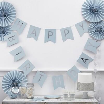 BABY BLUE & SILVER FOIL HAPPY BIRTHDAY BUNTING