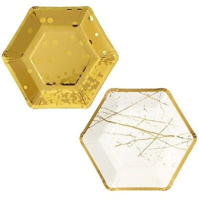 8 Paper Plates - Hexagonal Gold and White