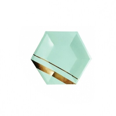 8 Paper Plates - Goddess Aqua Hexagon Large