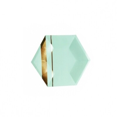 8 Paper Plates - Goddess Aqua Hexagon Small