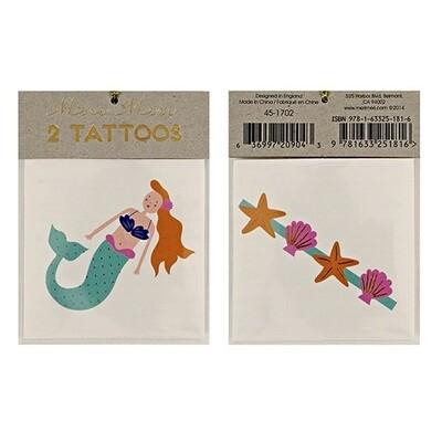 2 Mermaid & Sea Shells Tattoos