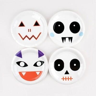 8 SMALL PAPER PLATES - MINI MONSTERS