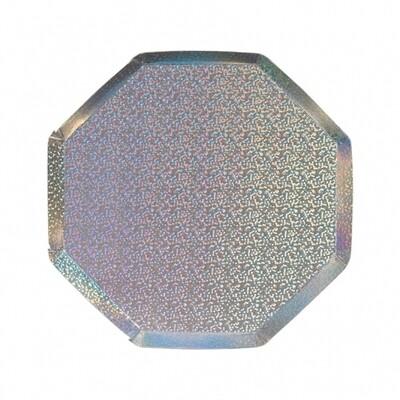 8 Silver Sparkle Side Plates
