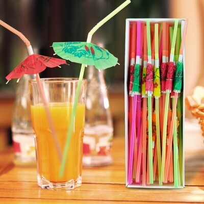 100 Umbrella drinking straws