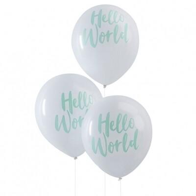 10 Mint Hello World Balloons - Hello World