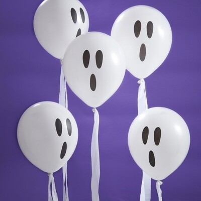 10 WHITE GHOST BALLOONS WITH STREAMERS