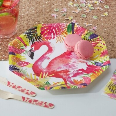 8 FLAMINGO PAPER PLATES FLAMINGO FUN