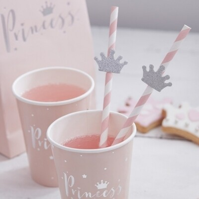 16 TIARA PAPER STRAWS PRINCESS PARTY