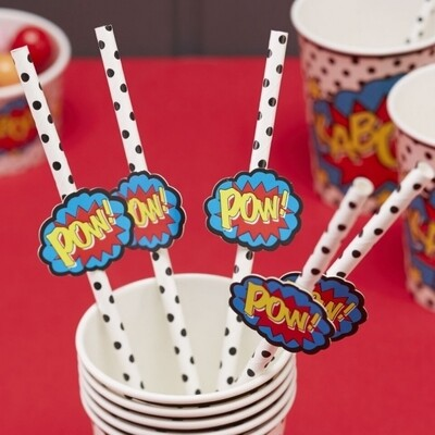 20 SUPERHERO PAPER STRAWS COMIC SUPERHERO