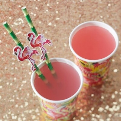 20 FLAMINGO PAPER STRAWS FLAMINGO FUN