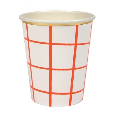 8 Neon Coral Grid Cups
