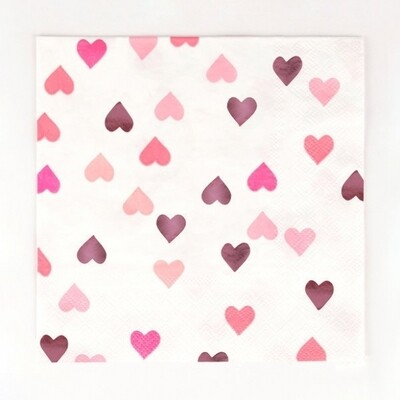 16 NAPKINS - PINK FOILED HEARTS