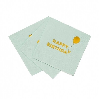 16 Birthday Mint Cocktail Napkins