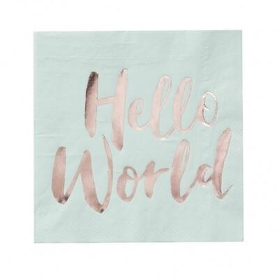 20 Mint & Rose Gold Paper Napkins - Hello World