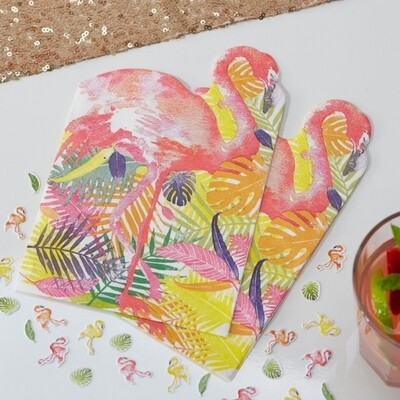 20 FLAMINGO SHAPED PAPER NAPKINS FLAMINGO FUN
