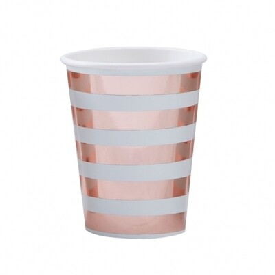 8 Mint & Rose Gold Paper Cups - Hello World