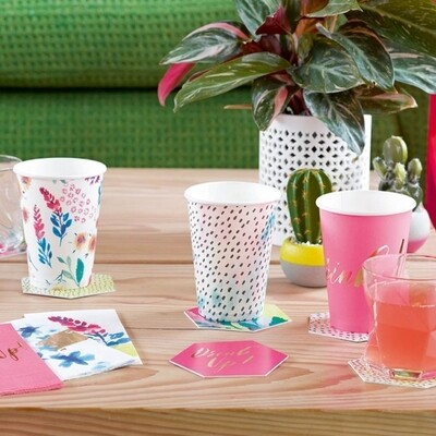 12 Fluorescent Floral Large Cups