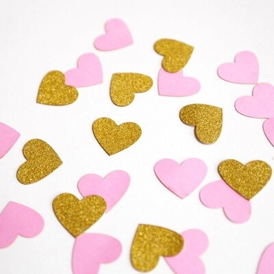 Gold and Pink Heart Confetti