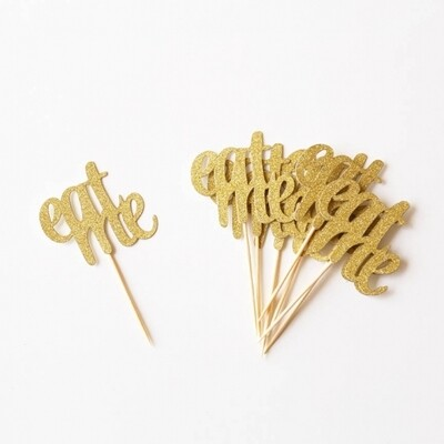 24 EAT ME cake toppers