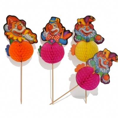 10 Paper Clown Cake Toppers