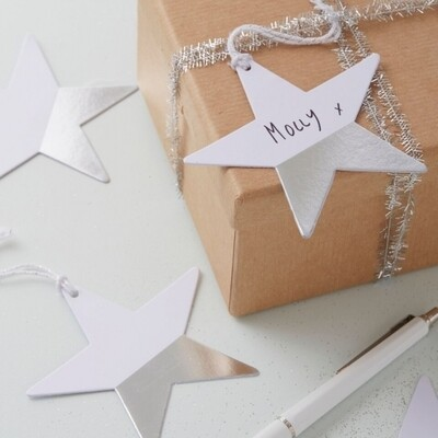 6 Silver Dipped Star Gift Tags