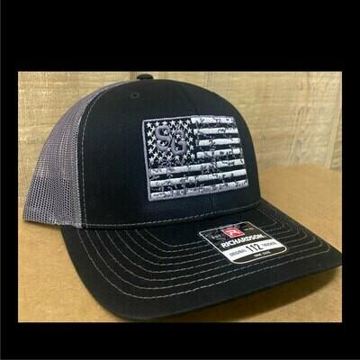 SG Flag Logo Black & Charcoal Curve Bill Trucker Hat