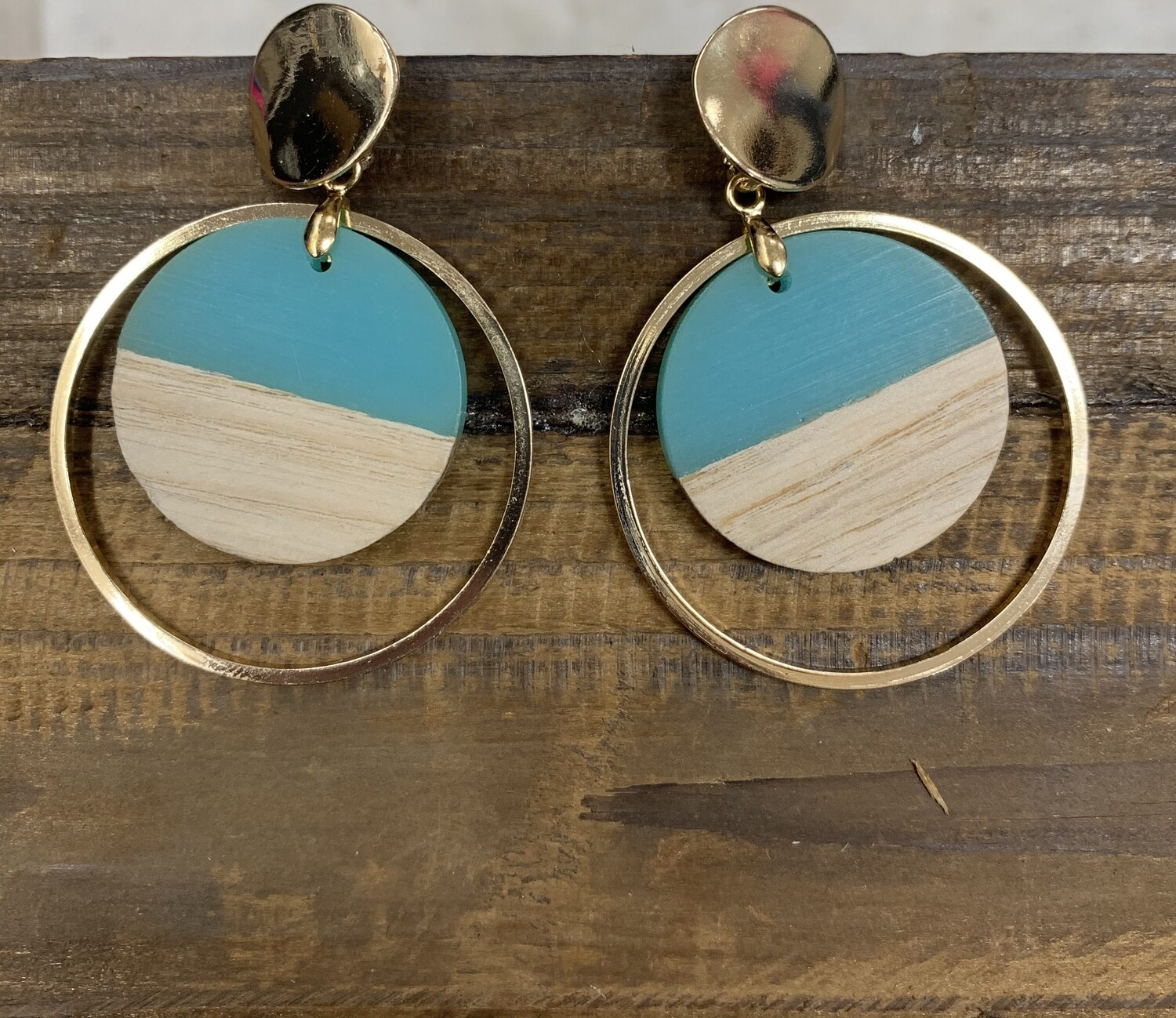 Half wood earrings