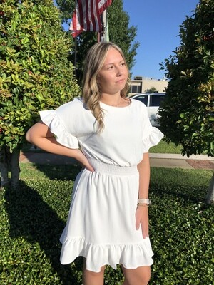 White Ruffle Sleeve Dress