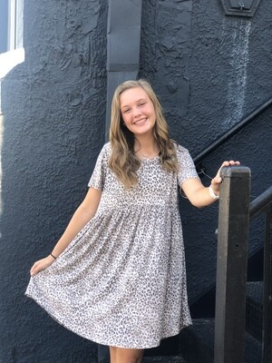 Gray Light Leopard Babydoll Dress