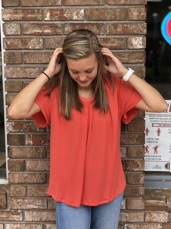 Coral V-Neck Soft Top