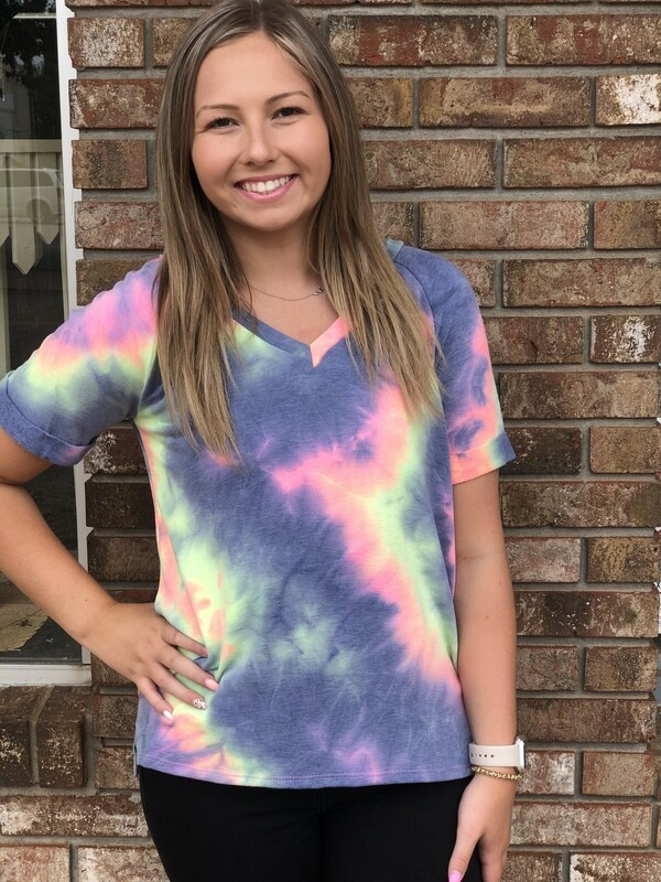 Blue Mix Tie Dye Top