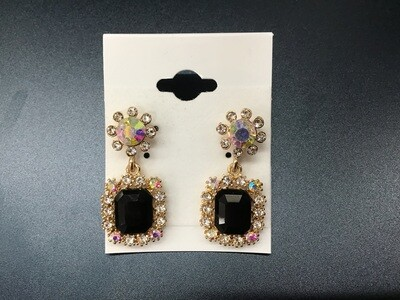 Formal Earrings Black Gold with Multi Square